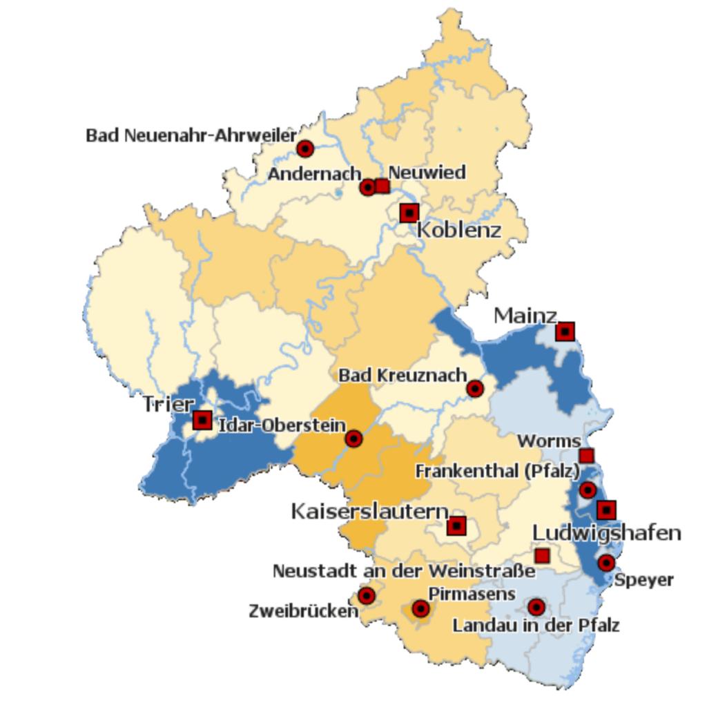 So könnte sich die Bevölkerung in Rheinland-Pfalz bis zum Jahr 2040 entwickeln. Im Mittel schrumpft die Bevölkerung um 2,6 Prozent, besonders stark in den gelb markierten Bereichen. In den blau markierten Bereichen gibt es dagegen geringe Zuwächse. (Screenshot, Quelle: Start. Landesamt)