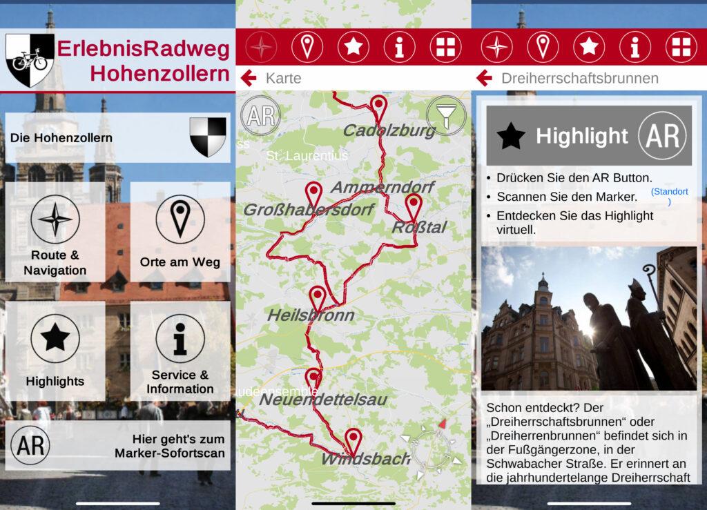 (Screenshots: Erlebnisradweg Hohenzollern)